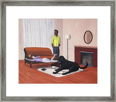 Lady Pulling Mommy Off The Couch Framed Print