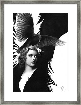 Lady Raven Surreal Pencil Drawing Framed Print by Thubakabra
