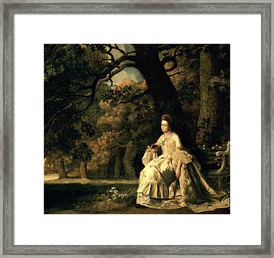 Lady Reading In A Park Framed Print by George Stubbs