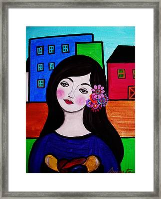 Lady Selling Fruits Framed Print by Pristine Cartera Turkus