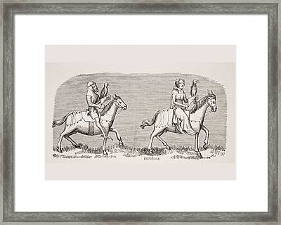 Lady Setting Out Hawking. 19th Century Framed Print by Vintage Design Pics