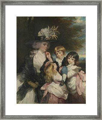 Lady Smith And Her Children Framed Print by Joshua Reynolds
