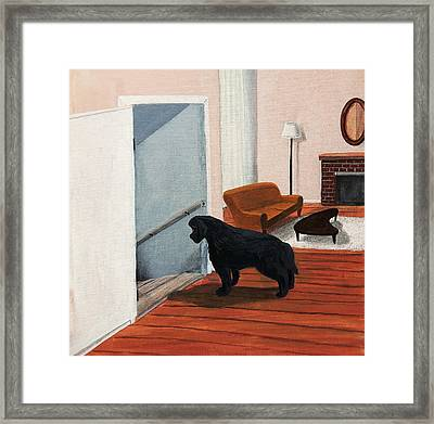Lady Stares Down The Big Stairs Framed Print