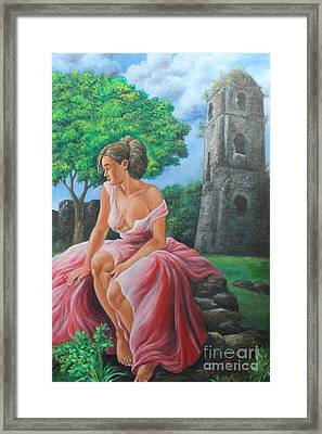 Lady Tourist In Bicol 2 Framed Print by Manuel Cadag
