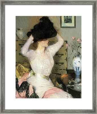 Lady Trying On A Ha Framed Print by Frank Weston Benson