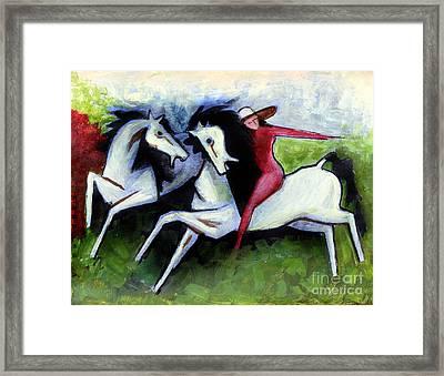 Lady With Horses Framed Print by Masoud Farshchi