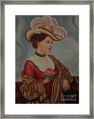 Lady With A Pink Rose Framed Print by Margit Armbrust