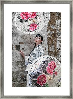 Lady With An Umbrella. Framed Print