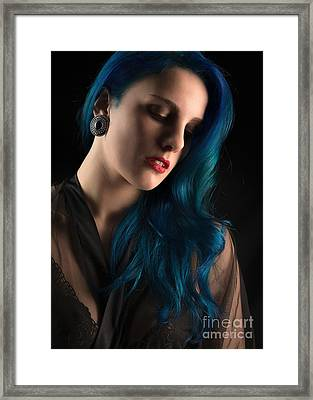Lady With Blue Hair Framed Print