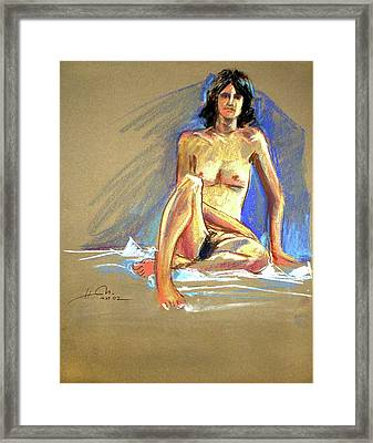Lady With Blue Framed Print