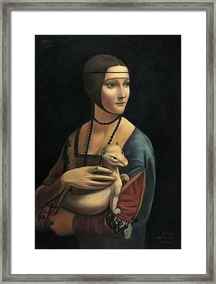 Lady With Ermine - Pastel Framed Print by Vishvesh Tadsare