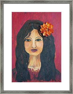 Framed Print featuring the painting Lady With Flower by Sladjana Lazarevic