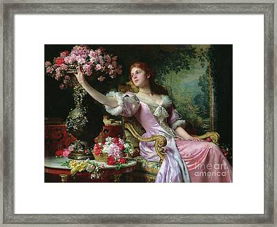 Lady With Flowers Framed Print