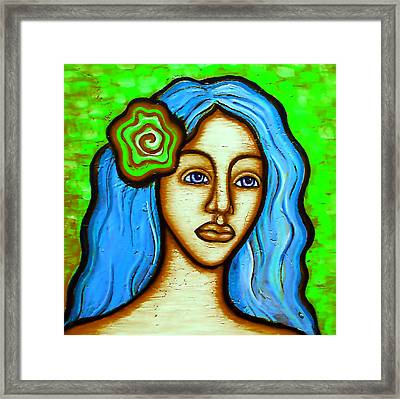 Lady With Green Flower Framed Print by Brenda Higginson