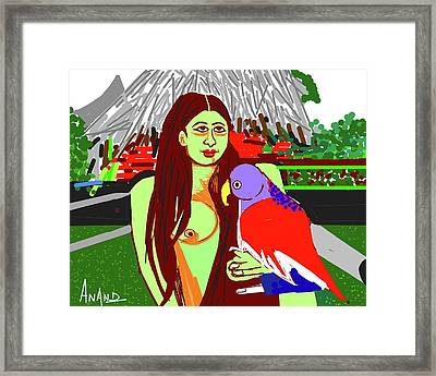 Lady With Parrot Framed Print