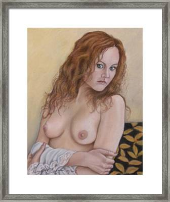 Lady With Red Hair Framed Print by Kenneth Kelsoe