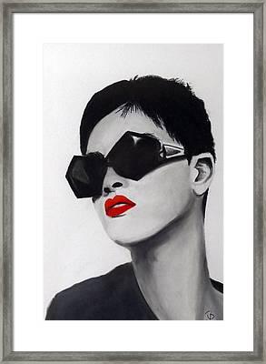 Lady With Sunglasses Framed Print by Birgit Jentsch