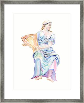 Lady With The Golden Harp Framed Print