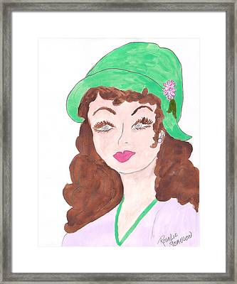 Lady With The Green Hat Framed Print by Rosalie Scanlon