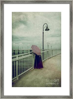 Lady With The Umbrella _texture Framed Print by Kathleen K Parker