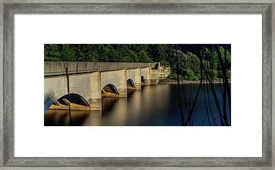 Framed Print featuring the photograph Ladybower Reservoir Reflecting Viaduct by Scott Lyons