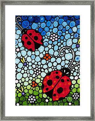Ladybug Art - Joyous Ladies 2 - Sharon Cummings Framed Print