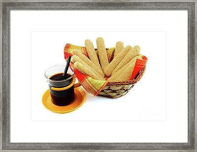 Ladyfinger - Savoiardi Biscuits And Coffee Framed Print