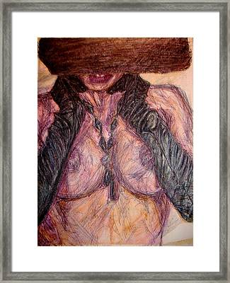 Ladyinhat01 - Watercolor And Ink Framed Print by Donna Hanna
