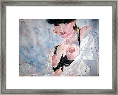 Ladyinhat02 - Watercolor Framed Print by Donna Hanna