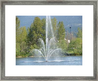 Framed Print featuring the painting Lafarge Lake Fountain by Rod Jellison