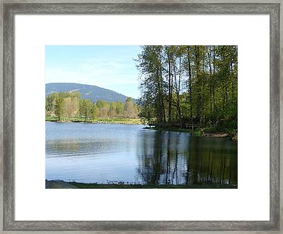 Framed Print featuring the painting Lafarge Lake Serenity by Rod Jellison