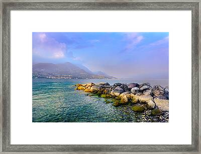 Framed Print featuring the photograph Lago Di Garda. Stones by Dmytro Korol