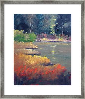 Framed Print featuring the painting Lagoon by Nancy Merkle