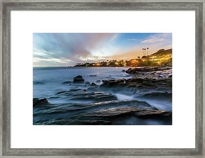 Framed Print featuring the photograph Laguna Beach After Dark by Cliff Wassmann