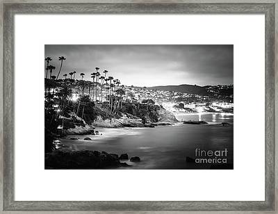 Laguna Beach At Night Black And White Picture Framed Print by Paul Velgos