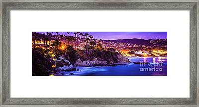 Laguna Beach At Night Panorama Picture Framed Print by Paul Velgos