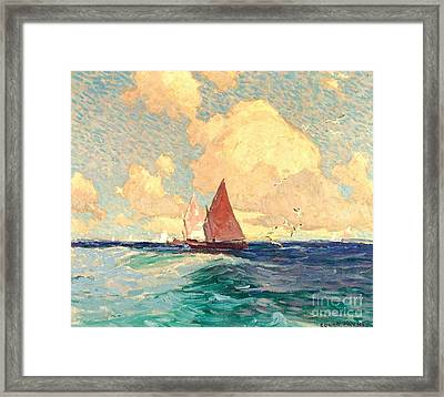 Yachting At Laguna Beach California 1921 Framed Print by Peter Gumaer Ogden Collection