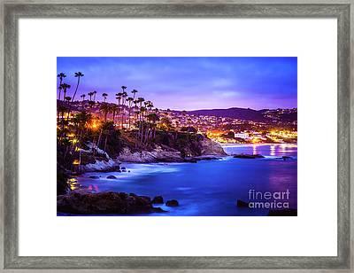 Laguna Beach California City At Night Picture Framed Print by Paul Velgos