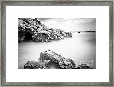 Laguna Beach Rock Formations Black And White Picture Framed Print by Paul Velgos