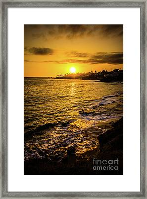 Laguna Beach Sunset Picture At Shaw's Cove Framed Print by Paul Velgos