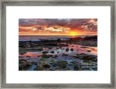 Laguna Beach Tidepools At Sunset Framed Print by Eddie Yerkish