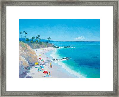 Laguna Beach Umbrellas Framed Print