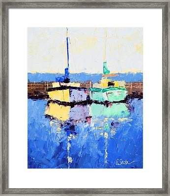 Lahaina Boats Framed Print by Leslie Saeta