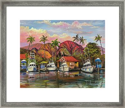 Framed Print featuring the painting Lahaina Harbor Sunset by Darice Machel McGuire