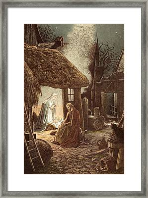 Laid In A Manger Framed Print by Victor Paul Mohn