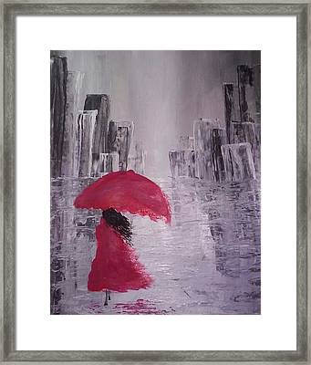 Laidy In The City Abstract Art Framed Print by Sheila Mcdonald