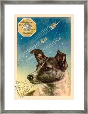 Laika The Space Dog Postcard Framed Print