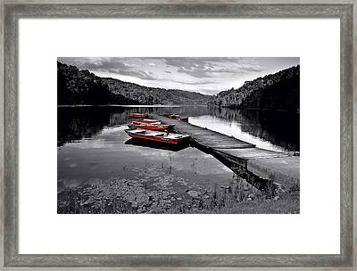 Lake And Boats Framed Print