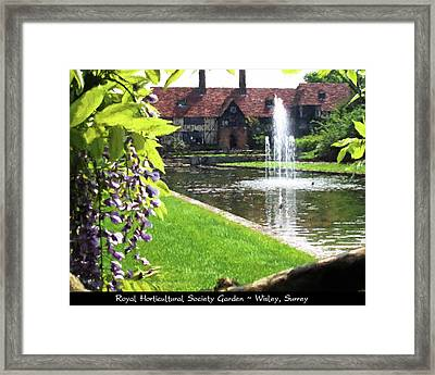 Lake And Fountain At Rhs Wisley Framed Print