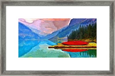 Lake And Mountains - Da Framed Print by Leonardo Digenio